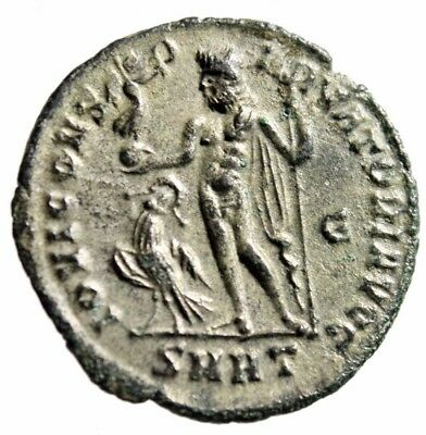 "Constantine I The Great Silvered AE Follis ""Jupiter, Eagle"" Heraclea RIC 75 EF"