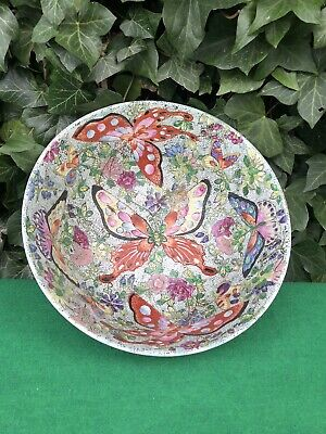Large Antique Chinese Famille Rose Butterfly Punch Bowl Qing 10""