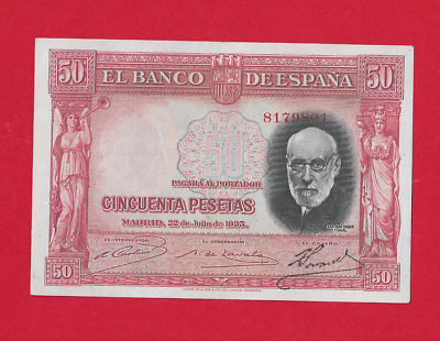 50  Pesetas  De 1935  Color Rojo  Ebc+
