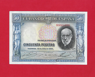 50  Pesetas  De 1935  Color Azul  Ebc+