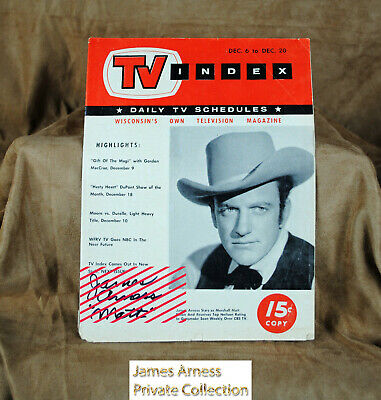 James Arness  Gunsmoke Marshal Dillon Wisconsin's TV Index,  Dec. 1958 Signed