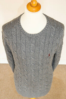 Polo Ralph Lauren Mens Chunky Cable Knit Crew Neck Jumper Dark Grey - Size Large