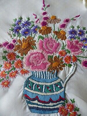 Vintage Hand Embroidered Picture Panel - Fabulous Floral Assortment
