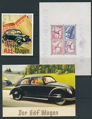 Lot Reprint Card Germany Volkswagen Olympics Berlin KDF