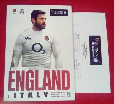 ENGLAND v ITALY 09/03/2019 Guinness 6 Nations Rugby Union programme