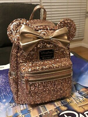 57400c78074 Disney Parks Minnie Mouse Rose Gold Ears Sequined Loungefly Backpack New  Version