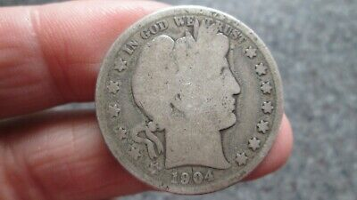 1904's BARBER SILVER HALF DOLLAR in GOOD  condition,RARE DATE, FREE SHIPPING