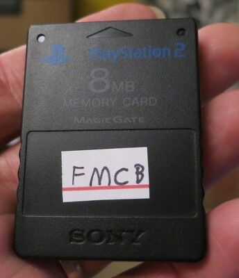 FMCB installed on black Official Sony PlayStation 2 Memory Card. Free Mcboot PS2