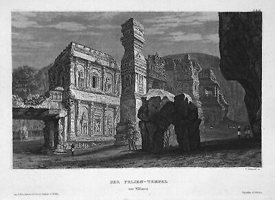 1840 Ellora-Höhlen Indien India Tempel temple Ansicht view Stahlstich engraving