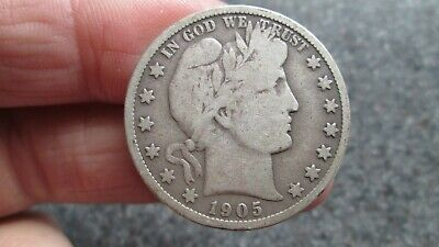 1905's BARBER SILVER HALF DOLLAR in  GOOD + condition,NICE DATE, FREE SHIPPING