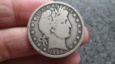 1906 P BARBER SILVER HALF DOLLAR in VERY GOOD condition,RARE DATE, FREE SHIPPING