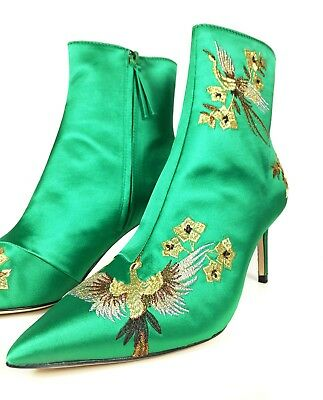 d9ceac1ea1b ZARA Green Embroidered Satin High Heel Ankle Boots Pointed Toes Woman 6065  201