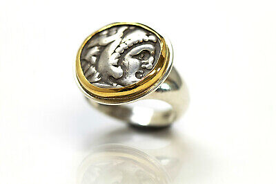 Silver Ring w/14K Solid Gold Bezel Alexander The Great Greek Coin  w/Cer 021