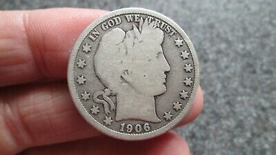 1906'D BARBER SILVER HALF DOLLAR in GOOD + condition,NICE DATE, FREE SHIPPING