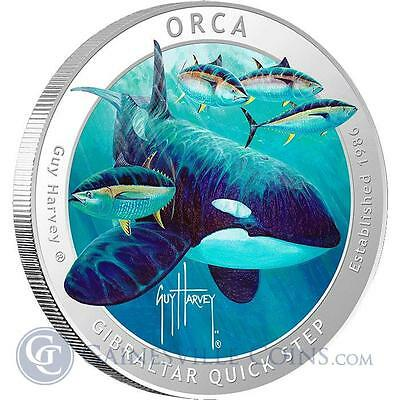 2016 Guy Harvey© Colorized 1 Oz Proof Pure Silver coin - Orca