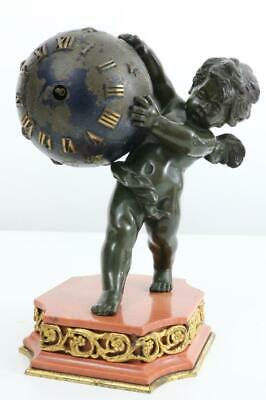 EXQUISITE ANTIQUE FRENCH BOUDOIR MANTEL CLOCK bronze cherub with midnight globe