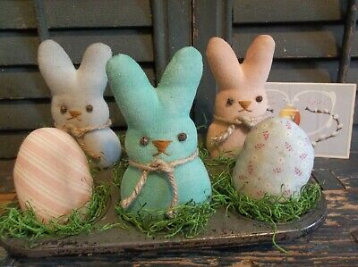 """Primitive Handmade Bunny """"Peeps"""" and Eggs in Vintage Muffin Tin - Easter/Spring"""