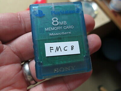 FMCB blue Transparent Official Sony PlayStation 2 Memory Card. Free Mcboot PS2