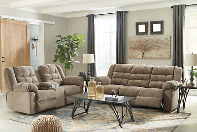 New Miller Living Room Furniture Brown Fabric Reclining Sofa Couch