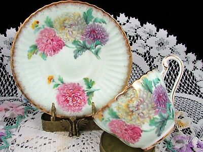 Paragon Chrysanthemum Sponged Gold Ribbed Green Tea Cup And Saucer