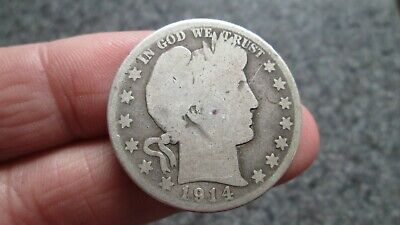 1914's BARBER SILVER HALF DOLLAR in  GOOD  condition,NICE DATE,FREE SHIPPING