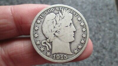 1915's BARBER SILVER HALF DOLLAR in VERY GOOD  condition,NICE DATE,FREE SHIPPING
