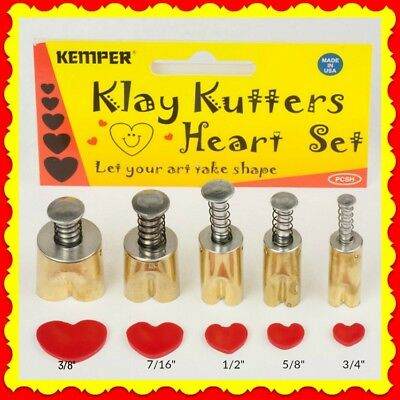 Kemper Klay Kutter Assorted Size Polymer Clay Heart Cutter Great for Beads