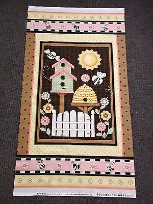 Bee Fabric Quilt Panel Sun Flowers Summer Brown Retro Country Quilting Material