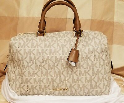 539a98cc88ce NWT Michael Kors Kirby Signature MK Large Logo Satchel Bag Vanilla LOWER  PRICE!