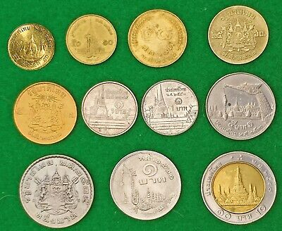 THAILAND:- 11 different late 20th century circulation coins. AP7439