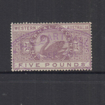 Western Australia 1881 £5 Mauve INTERNAL REVENUE-wmk 3 -Elsmore Cat $80+ FU