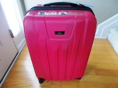 Skyway carry-on luggage 360 spinner wheels high impact polymer shell raspberry