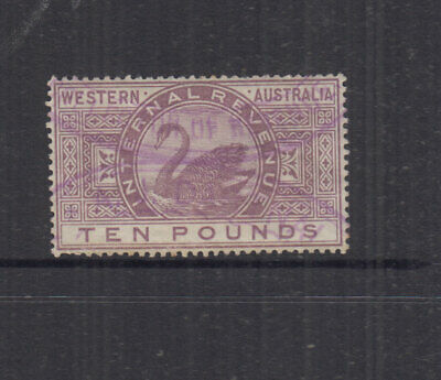 Western Australia 1881 £10 Mauve INTERNAL REVENUE-wmk 3 -Elsmore Cat $95+ FU