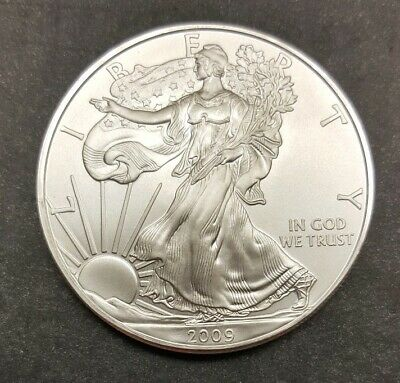 2009 1 oz AMERICAN SILVER EAGLE BRILLIANT UNCIRCULATED SOME TONING ON RIM