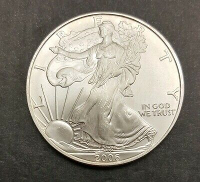 2006 1 oz AMERICAN SILVER EAGLE BRILLIANT UNCIRCULATED SOME TONING ON RIM