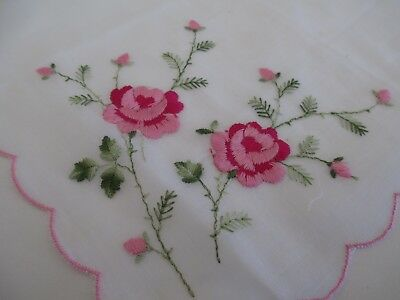 Vintage Handkerchief Ladies Pink Embroidered Flowers Buds Edges White Background