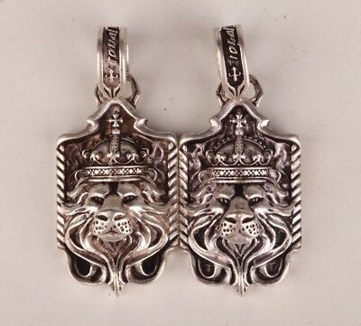 2 Rare Tibetan Silver Hand-Carved Lion King Statue Necklace Pendant