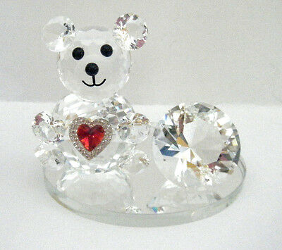 Crystal Teddy Bear Figurine With Red Heart & Diamond Attached To  Glass Base Nib
