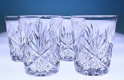 Set 4 Signed Hawkes Deeply Cut Glass Lo Ball Tumblers Star & Fan Whiskey Crystal