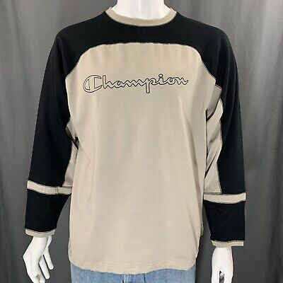 77bbee666 Champion Vintage 90's Long Sleeve Shirt Jersey Spell Out Gray Black Large