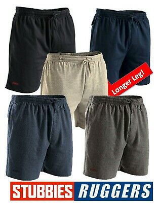 Mens Genuine Stubbies Ruggers Long Leg Elastic Waist Jersey Sweat Shorts -Se2160