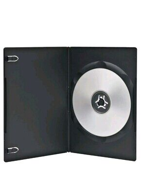 100 Premium 7MM Slim Black Single DVD Cases with Clear Overlay Holds 1 Disc