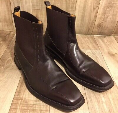 aaed85fc12a MEZLAN MEN'S RED Brown Leather Chelsea Square Toe Ankle Boots Size 11M