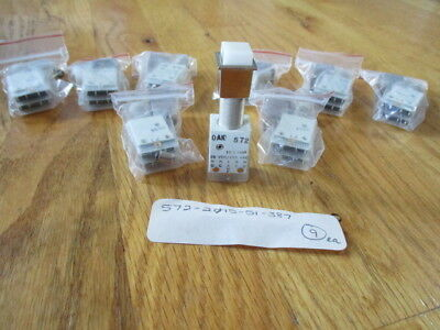Lighted push button switches....OAK...New...P/N 572-2015-387...9 pcs