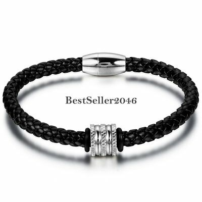 Mens Womens Stainless Steel Magnetic Clasp Braided Leather Cuff Bangle Bracelet