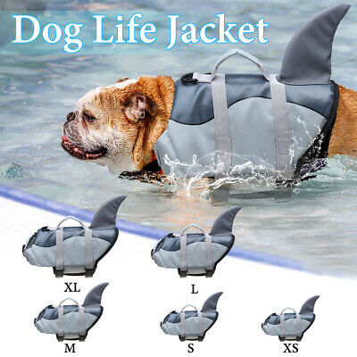 Pet Dog Swim Safety Life Jacket Buoyancy Shark Float Vest Preserver