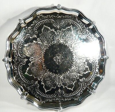 """Antique SILVER Plate Claw Paw Footed SALVER 12""""  ROUND TRAY Celtic Pattern c1860"""