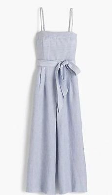 a053f5abcf2 New with tags JCREW Striped Linen Jumpsuit With Tie Size 8 Blue White G5964   128