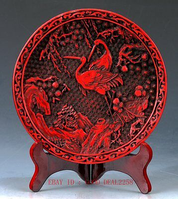 Chinese lacquerware Handwork Carved Crane & Flower Collection Plate  QQ12+a
