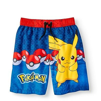 afb34e0a0b Pokemon Pikachu Boys Swim Trunks Swimwear Swim Shorts Bathing Suit Size 4